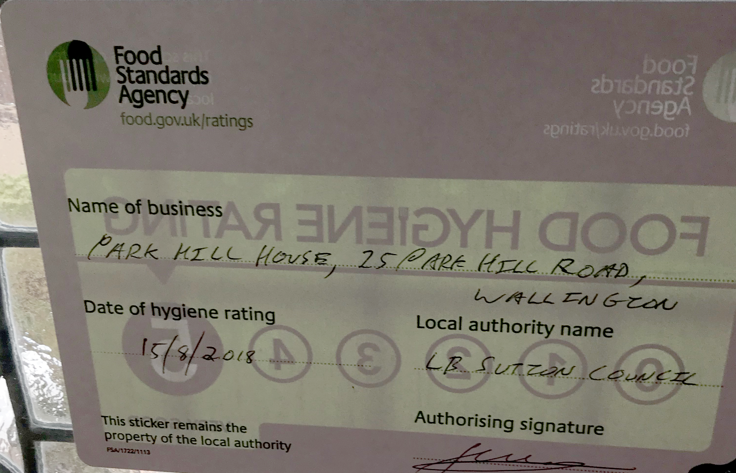Food Hygiene Rating 5 For Park Hill House Fountain And